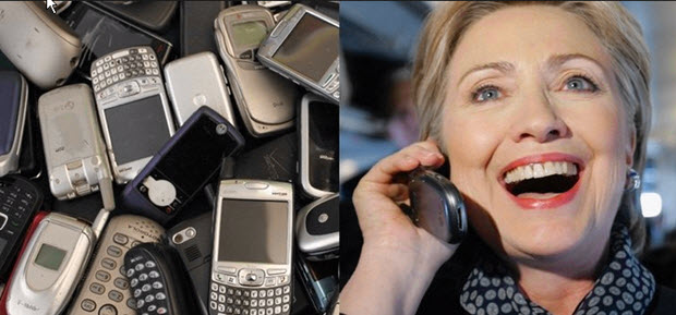 data destruction: Hillary-hammered-phones